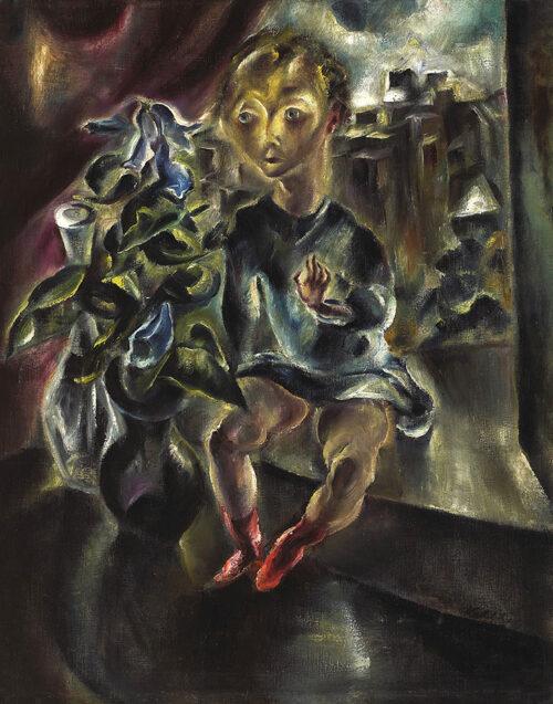 Wilhelm Kohlhoff, Junge auf der Fensterbank, um 1917, Öl auf Leinwand © VG Bild-Kunst, Bonn 2021