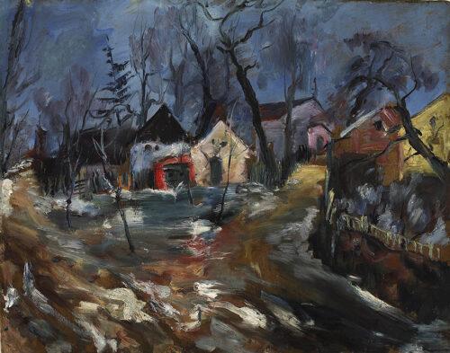 Wilhelm Kohlhoff, Dorf im Winter, um 1924, Öl auf Holz © VG Bild-Kunst, Bonn 2021