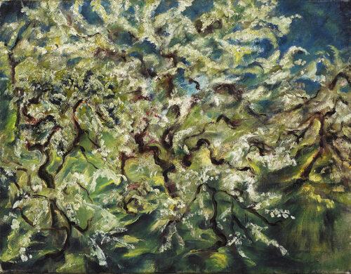 Wilhelm Kohlhoff, Obstbäume im Frühling, um 1920, Öl auf Leinwand © VG Bild-Kunst, Bonn 2021